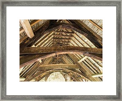 Ancient Roof Timbers In Stokesay Castle Framed Print by Ashley Cooper