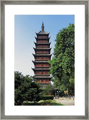 Ancient Square Pagoda Framed Print by Charline Xia