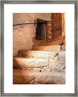 Ancient Steps To The Attic Framed Print by Gill Billington
