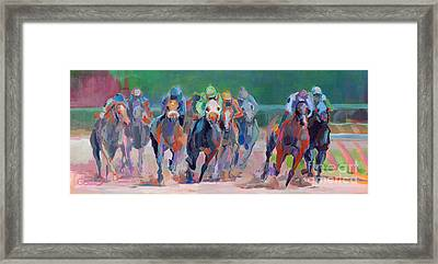 And Down The Stretch They Com Framed Print by Kimberly Santini