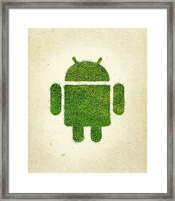 Andoird Grass Logo Framed Print by Aged Pixel