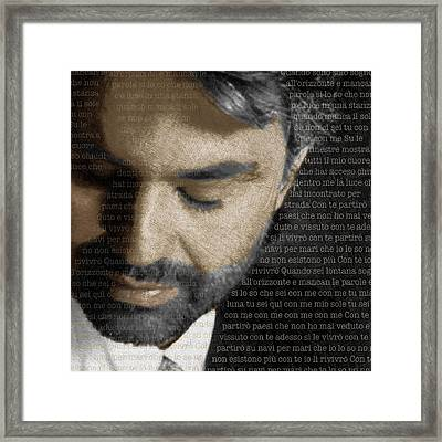 Andrea Bocelli And Lyrics Square Framed Print by Tony Rubino
