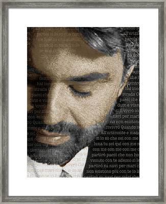 Andrea Bocelli And Lyrics Vertical Framed Print by Tony Rubino
