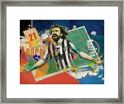 Andrea Pirlo Framed Print by Corporate Art Task Force