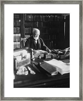 Andrew Carnegie Reading Framed Print by Marceau