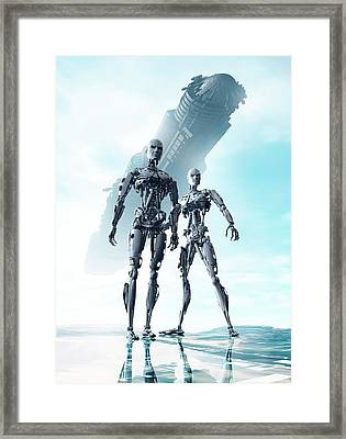 Androids And Spacecraft Framed Print by Victor Habbick Visions