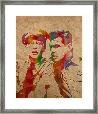Andy Griffith Don Knotts Barney Fife Of Mayberry Watercolor Portrait On Worn Distressed Canvas Framed Print by Design Turnpike