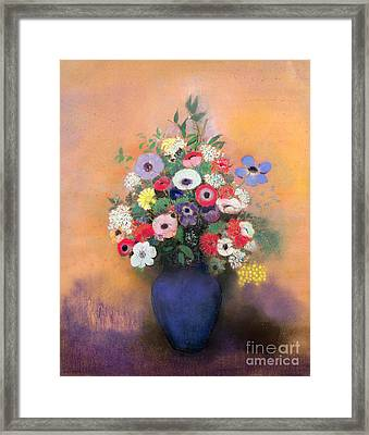 Anemones And Lilac In A Blue Vase Framed Print by Odilon Redon