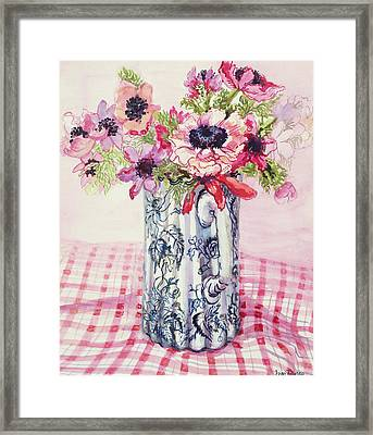 Anemones In A Victorian Flowered Jug Framed Print by Joan Thewsey