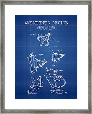 Anesthetic Device Patent From 1941 - Blueprint Framed Print by Aged Pixel