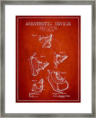 Anesthetic Device Patent From 1941 - Red Framed Print by Aged Pixel