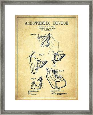 Anesthetic Device Patent From 1941 - Vintage Framed Print by Aged Pixel