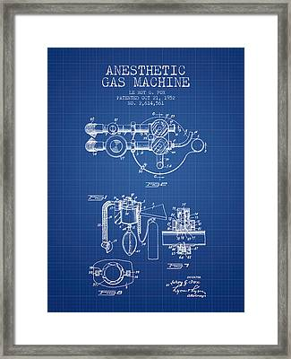 Anesthetic Gas Machine Patent From 1952 - Blueprint Framed Print by Aged Pixel