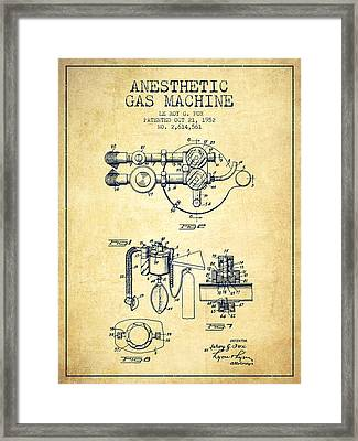 Anesthetic Gas Machine Patent From 1952 - Vintage Framed Print by Aged Pixel