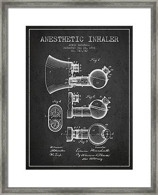Anesthetic Inhaler Patent From 1903 - Charcoal Framed Print by Aged Pixel