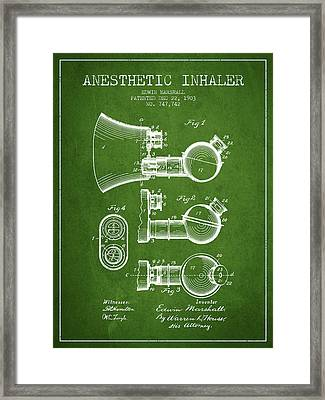 Anesthetic Inhaler Patent From 1903 - Green Framed Print by Aged Pixel