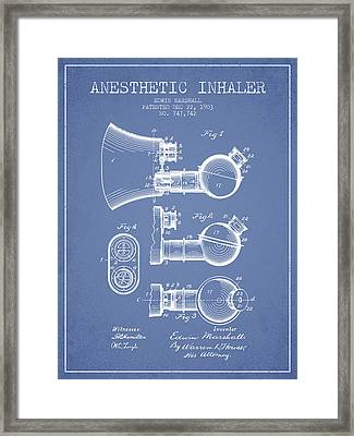 Anesthetic Inhaler Patent From 1903 - Light Blue Framed Print by Aged Pixel