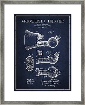 Anesthetic Inhaler Patent From 1903 - Navy Blue Framed Print by Aged Pixel