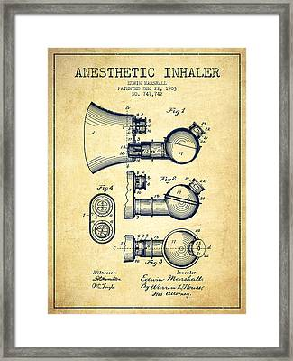 Anesthetic Inhaler Patent From 1903 - Vintage Framed Print by Aged Pixel