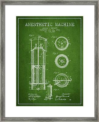 Anesthetic Machine Patent From 1903 - Green Framed Print by Aged Pixel