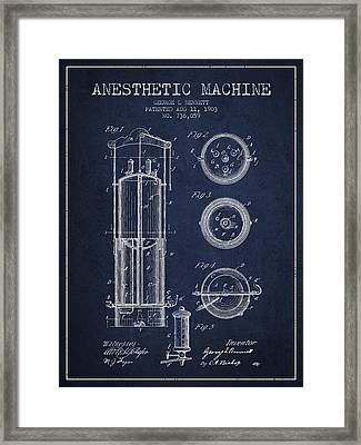 Anesthetic Machine Patent From 1903 - Navy Blue Framed Print by Aged Pixel