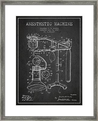 Anesthetic Machine Patent From 1919 - Dark Framed Print by Aged Pixel