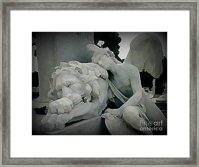 Angel And Lion Statue Framed Print by John Malone