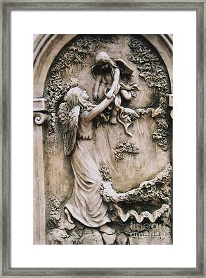 Angel Art - Angel Holding Baby Child Angel - Guardian Angel With Baby Child Angel Wings  Framed Print by Kathy Fornal