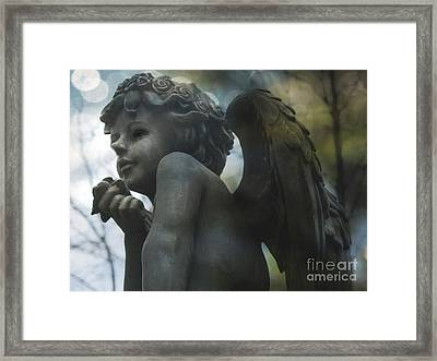 Angel Art Child Angel Wings Ethereal Dreamy Child Cherub Angel Holding Rose Framed Print by Kathy Fornal