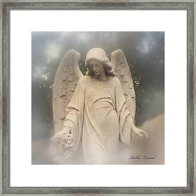 Angel Art - Dreamy Ethereal Angel Holding Wreath In Fog - Cemetery Angel Art Monument Framed Print by Kathy Fornal