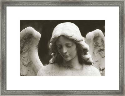 Angel Art - Ethereal Dreamy Angel Guardian Angel - Face Of An Angel Framed Print by Kathy Fornal