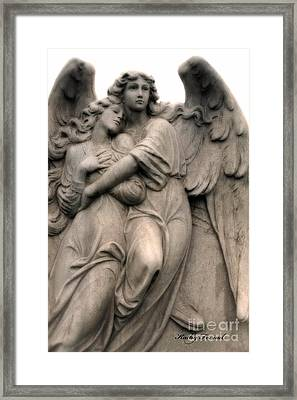 Angel Photography Guardian Angels Loving Embrace Framed Print by Kathy Fornal