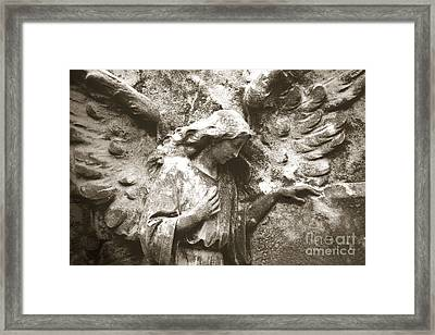 Angel Art - Surreal Ethereal Angel Wings Across Cemetery Wall  Framed Print by Kathy Fornal