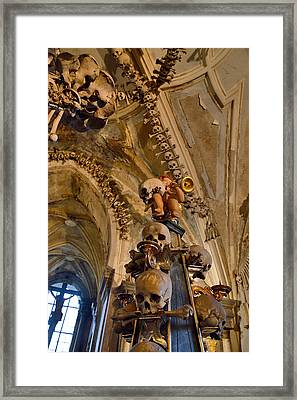 Angel Blowing A Gold Trumpet. Skulls And Crossbones. Framed Print by Andy Za