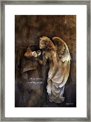 Angel Girl Holding Dove Inspirational Angel Art - Be At Peace With The World Framed Print by Kathy Fornal