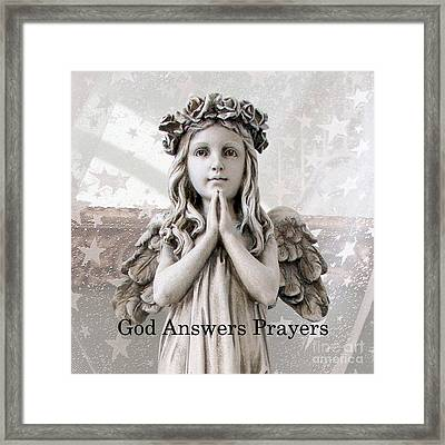 Angel Girl Praying - Christian Angel Art - Little Girl Praying Angel Art - God Answers Prayers Framed Print by Kathy Fornal
