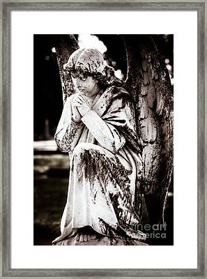 Angel In Prayer Framed Print by Sonja Quintero
