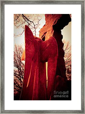 Angel In Red Framed Print by Sonja Quintero