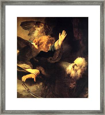 Angel And Prophet Framed Print by Rembrandt