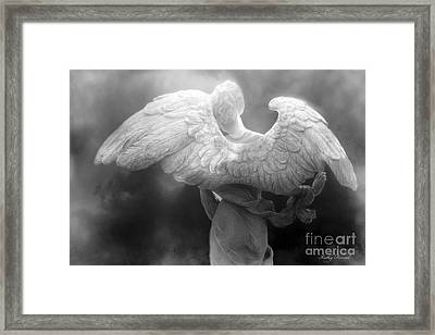 Angel Wings - Dreamy Surreal Angel Wings Black And White Fine Art Photography Framed Print by Kathy Fornal