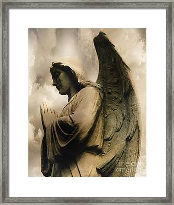 Angel Wings Praying - Spiritual Angel In Clouds Framed Print by Kathy Fornal