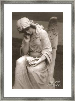 Angel With Dove - Dreamy Serene Angel Holding Dove Of Peace Framed Print by Kathy Fornal