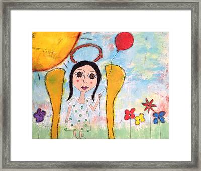 Angel With Red Balloon  Framed Print by Dina Noel