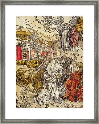 Angel With The Key Of The Abyss Framed Print by Albrecht Durer or Duerer