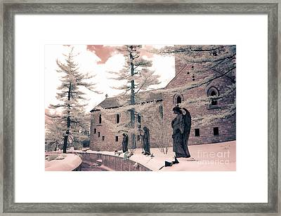 Angels And Religious Statues Winter Churchyard - Angel Statues With Jesus Churchyard Winter Scene Framed Print by Kathy Fornal