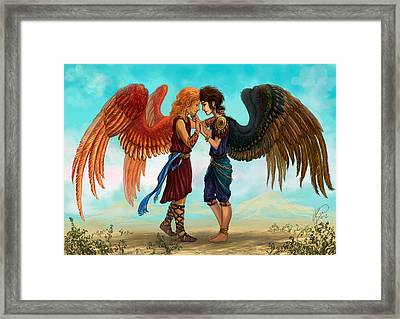 Angels Of A Feather Framed Print by Katerina Romanova