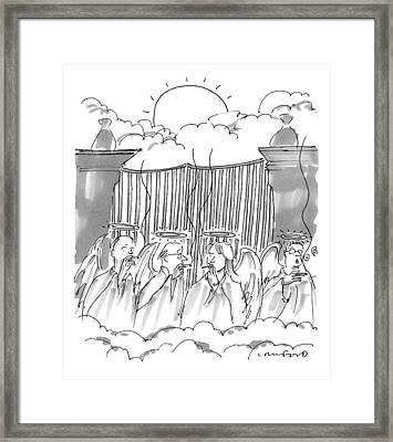 Angels Smoking Outside Of The Gates Of Heaven Framed Print by Michael Crawford