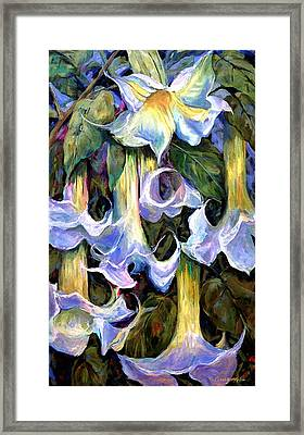 Angel's Trumpets - Floral Art By Betty Cummings Framed Print by Sharon Cummings