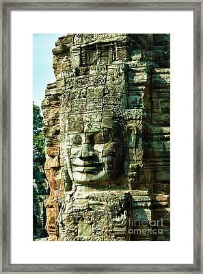 Angkor Bayon Stone Carving Cambodia Framed Print by Fototrav Print