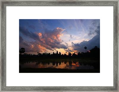 Angkor Wat Sunrise Framed Print by FireFlux Studios